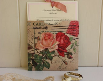 Vintage Wedding - English Country Wedding - Handmade Stationery - Red Rose Invitation - Floral Wedding Invitation - Personalised