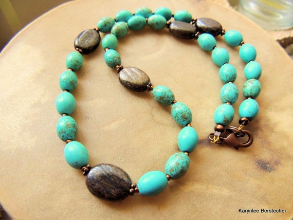 Turquoise Necklace, Bronzite Necklace,Turquoise and Copper Jewelry, Native Style Jewelry, Southwestern Necklace, Handcrafted Jewelry