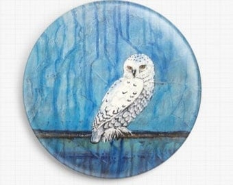 Owl Needle Minder - Licensed Art By Robert Bretz, Winter Thaw, Cross Stitch Keeper - Fridge Magnet, Snowy Owl, Christmas Gift Idea
