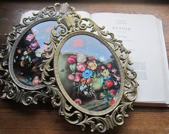 Art, Two 13 x 10 Large Italian Floral Prints, Concave Glass, Italy *Vintage Italian, Home Decor, Ornate Florentine, Cast Metal Frames,
