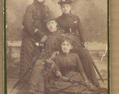 1870's Cabinet Photo Four Women Sisters Hats Umbrella By Donaldson Tiffin, Ohio