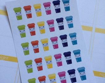 Coffee Cup Planner Stickers Fits Erin Condren Planner Plum Paper Stickers