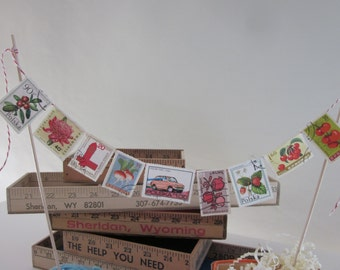 Vintage Stamp Cake Topper - Reds and Pinks