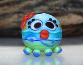 Lampwork Squeedle Bead Charm Blue Green Red White Octopus Cute Character Bow Polka Dots