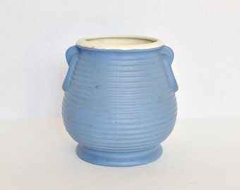 Blue Coors Pottery Beehive Ringed Vase - White Rim - Applied Handles