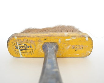 Large Vintage Yellow and Blue Straw Bristle Paint Brush