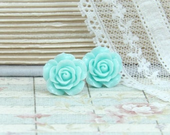 Aqua Blue Earrings Rose Stud Earrings Blue Studs Rose Earrings Surgical Steel Studs Blue Stud Earrings