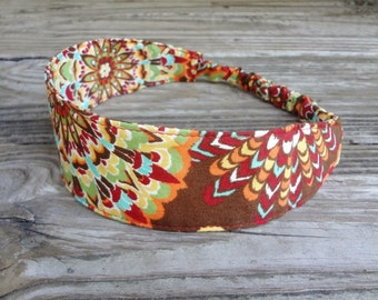 Fabric Headband with Elastic: Autumnal Brown Floral