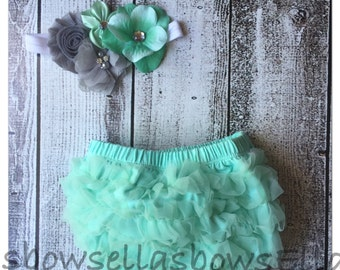 SALE PRICED... Baby bloomer and Shabby Chic Floral Headband...Hair bow and Diaper Cover...custom sizes available