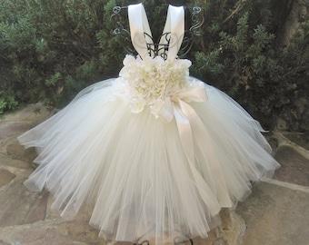 IVORY FLOWERS.  Ivory Tutu Dress. Baptism Dress.  Christening Gown.  Flower Girl Gown.  Birthday Dress.  Photo Shoots.  Girl Tutu Dress.