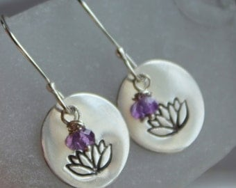 Lotus Flower Silver Hand Stamped Earrings with Amethyst Stones