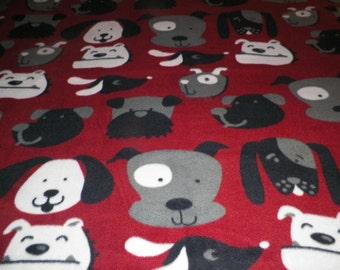 Dog Faces Fleece Throw Blanket