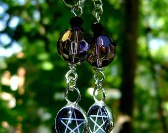 Pentagram Wicca Pagan Earrings Purple Glass Beads Halloween Sterling Silver Samhain Yule Jewelry OOAK