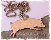 Hand Painted, Stamped and Soldered Flying Pig Necklace on Ball Chain