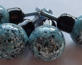Four Handmade Light Turquoise with Fine Black/White Frit Handmade Lampwork Door/Draw Knobs