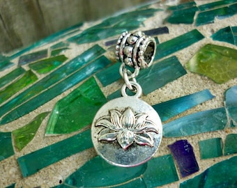 Lotus Flower silver Dangle Charm Pendant,Peace charm,Purity charm