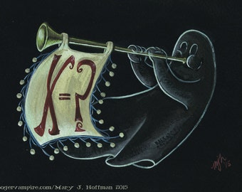 Ghost #1 - In the Key of X=? - Archival Digital Print - Haunted Mansion Ghost playing Trumpet