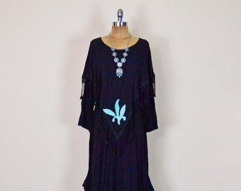 Vintage 90s Black Rhinestone Stud Leather Fringe Cape Poncho Shawl Maxi Dress Southwestern Dress Southwest Dress Boho Hippie Gypsy S M L XL