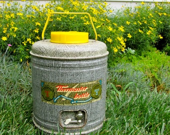 """Vintage Water Cooler /  Vintage """"Thermaster"""" Bottle / Poloran / 50's/60's / Large Thermos/ Drinks Carrier / Tailgating / Picnics"""