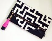 Black and White Geometric Foldover Clutch