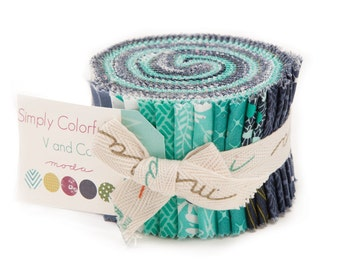 Blue Simply Colorful II Junior Jelly Roll Fabric - Moda - V And Co