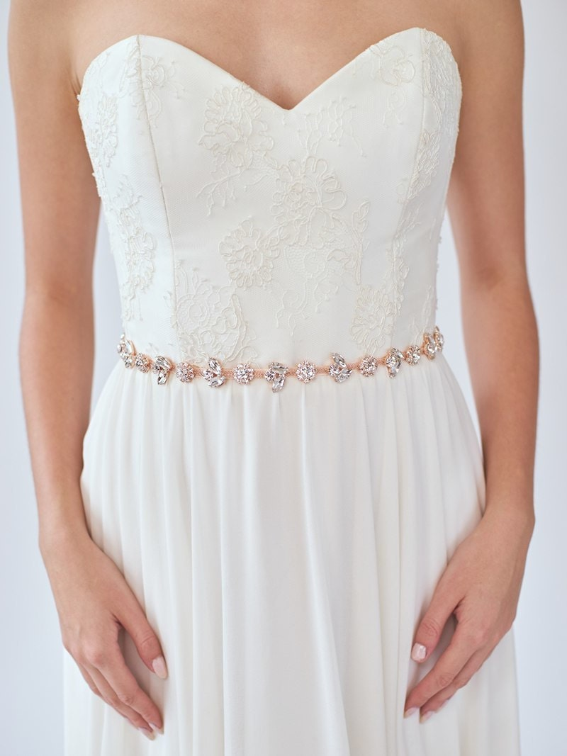 Rose gold bridal belt crystal wedding sash thin rose gold for Gold belt for wedding dress