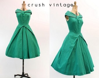 50s Sequin Dress Small / 1950s Vintage Green Polished Cotton Dress / Adley Lake Dress