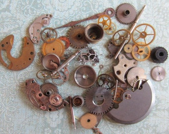 Vintage WATCH PARTS gears - Steampunk parts - g10 Listing is for all the watch parts seen in photos
