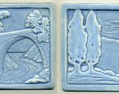 "Pair of Art Tiles   Poplar Trees and Bridge Tile  both 4"" Square  Decorative Two Tile Set"