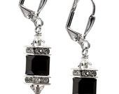 Crystal Cube Black Earrings,  Jet Cube Earrings with Crystals from Swarovski, Square Cube Earrings