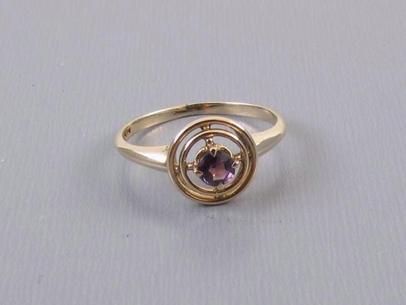 Antique Edwardian 10k gold amethyst ring signed WWW White Wile Warner