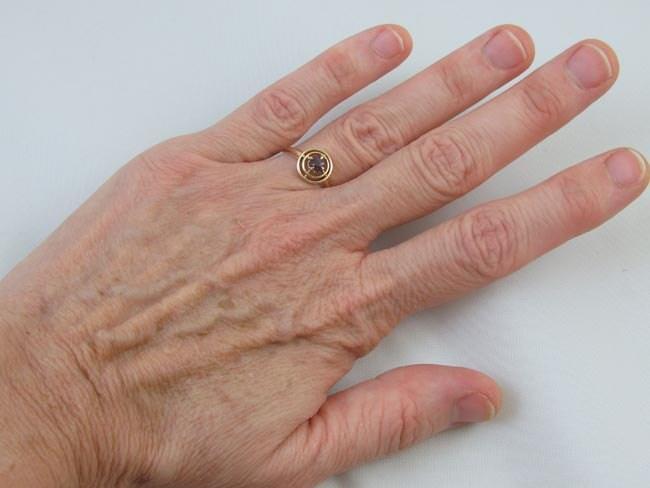 Antique Edwardian 10k gold amethyst ring signed WWW White Wile Warner