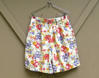 LizSport vintage Floral Print  High Waist Pleated Shorts