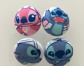 Set of 4 - LILO and STITCH Fabric Buttons