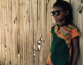 Kids African Dashiki Baseball Raglan Tee Shirt