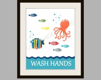 Target Circo FISH Collection Art Print, OCTOPUS Wall Art, Tropical FISH Bath Decor, Childrens Bath Art