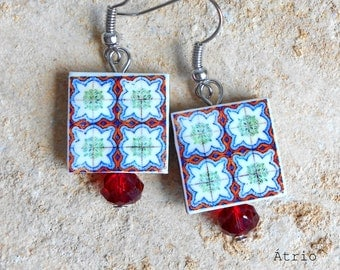 Portugal Antique Azulejo Tile Replica Earrings-  SINTRA Red and Green - Majolica Mosaic - waterproof and reversible 663