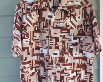 Vintage Don Loper Duke Of Hollywood 70s Mod Geometric Design Brown Tan White Shirt Butterfly Collar Mens Shirt SZ L 16 - 16 1/2