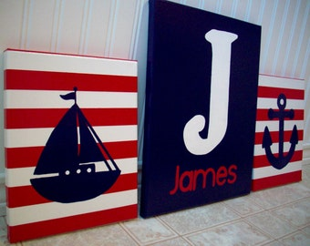 Nautical Nursery Paintings - Hand Painted Anchor Ship - Nautical Painting - Baby Boy Nursery Bedroom Decor - Wall Hanging - Personalized