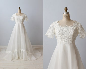 1970s Wedding Dresses / Vintage 70s Wedding Gown / Boho / Lace and Organza / Sweet Romance