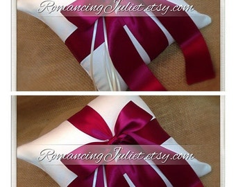 Romantic Satin Ring Bearer Pillow...You Choose the Colors...SET OF 2...shown in ivory/burgundy