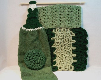 Kitchen Set. Handmade, pot scrubber, towel, dish cloth, hot pad, durable, scratch free, cleaning aids, autumn, black. Great 4 piece gift.
