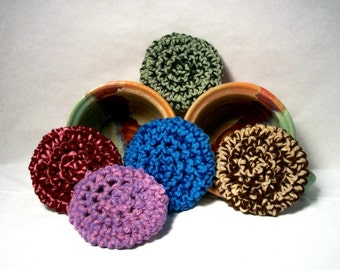 Yarn Scrubbies. Facial scrubbie, eco-friendly, handmade, variety of colors, easy to clean, make-up remover. Pick your favorite.