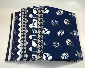 SPRING SALE - Brigham Young University - Fat Quarter Bundle (8) - cotton fabric -  2 Yards Total - BYU