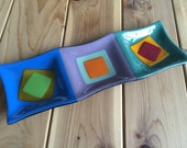 Fused Glass Sectional Serving Dish / Platter