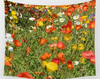 Poppy field tapestry, summer tapestry, flower wall hanging, summer flowers art tapestry, yellow poppies throw, orange poppy fields