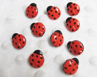 Buttons Galore Ladybug  Buttons  10 in a set