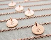 Initial Bracelet rose gold layering bracelet thin dainty charm bracelet personalized best friend birthday gifts