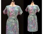 Vintage 80s Pastel Kaleidoscope Handmade Tie Dye Dress
