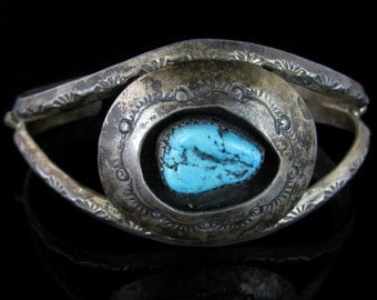 Cuff Bracelet, Native American, Sterling Silver, Shadow Box Turquoise, Hallmarks NK